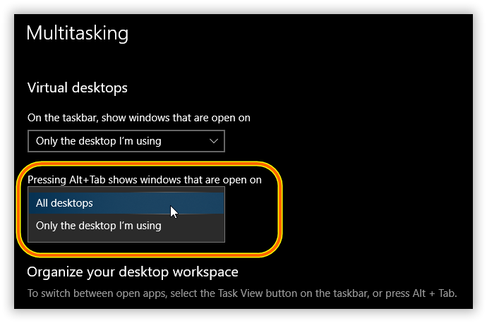 Windows 10 Settings - Multitasking - All desktops