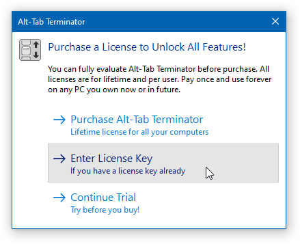 Alt-Tab Terminator - Purchase Dialog
