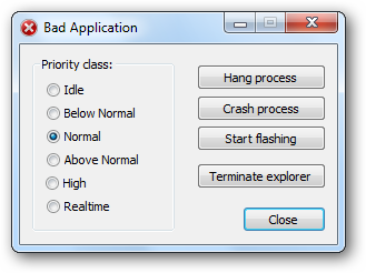 Bad Application - Screenshot