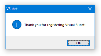 Thank you for registering Visual Subst!