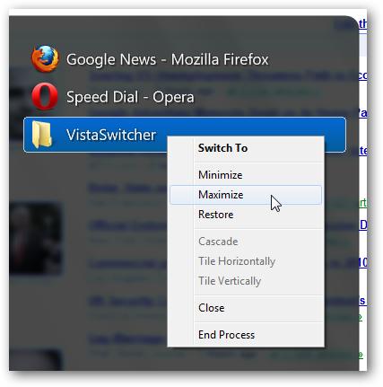 VistaSwitcher - Right-Click Menu