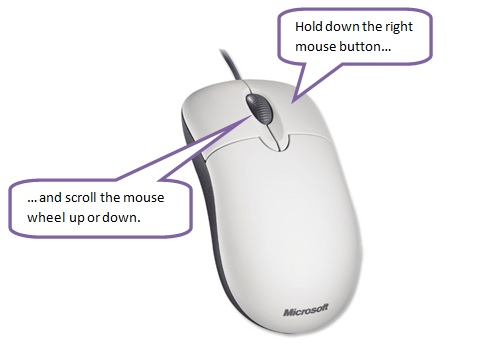 Right Mouse Button + Wheel