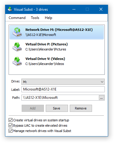 Visual Subst - Manage Network Drives