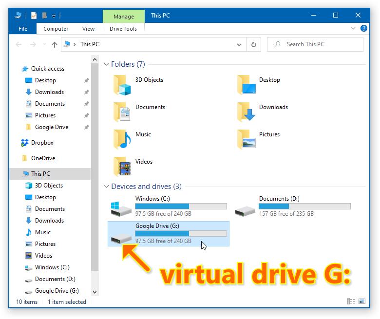 Google Drive - Map as a Virtual Drive