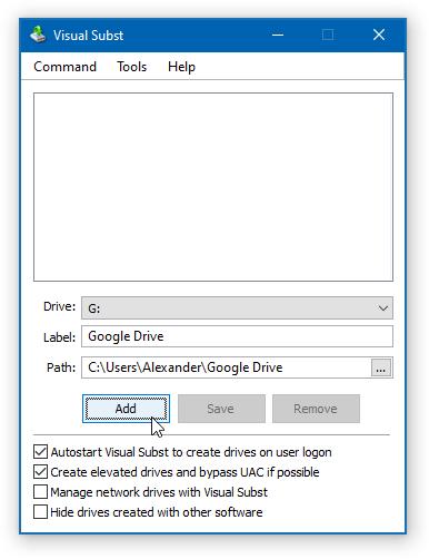 Visual Subst - Add Drive