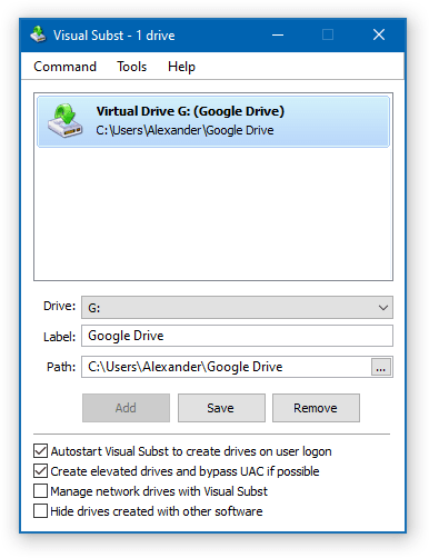 Visual Subst - Google Drive G: