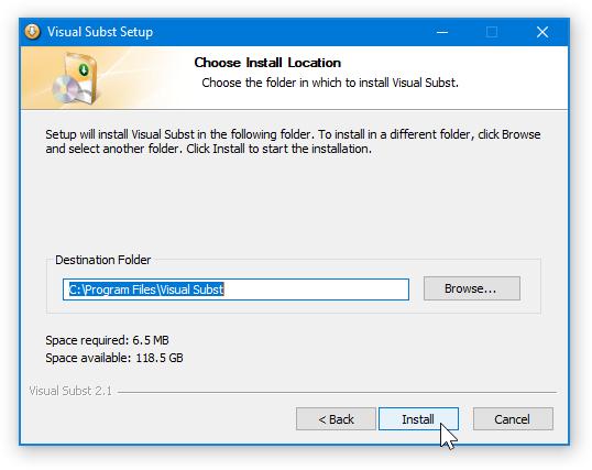 Visual Subst - Install Location