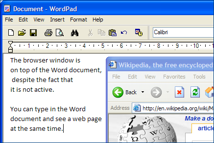 Browser on top of the Word document