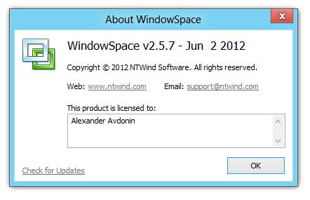 WindowSpace on Windows 8 PC