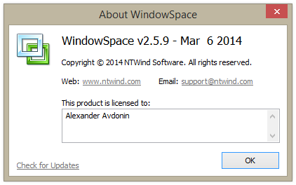WindowSpace v2.5.9 - About Box