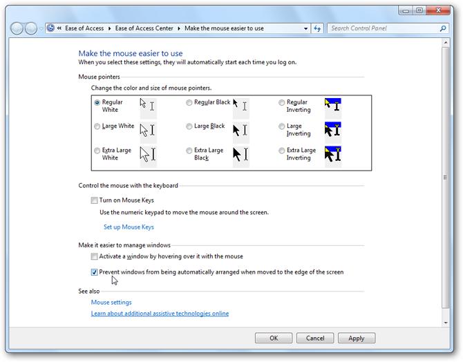 Windows 7 - Window Arrangement Settings