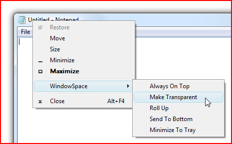 WindowSpace Menu Commands