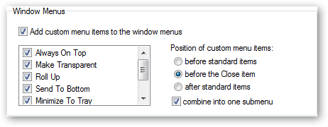 Window Menu Settings