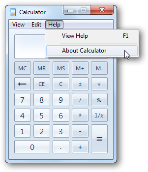 Calculator - About Menu