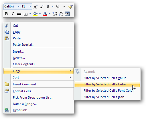 Excel 2007 Right-Click Menu
