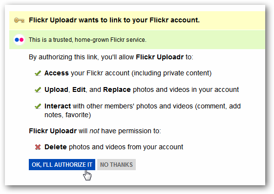 Flickr Uploadr - Authorize