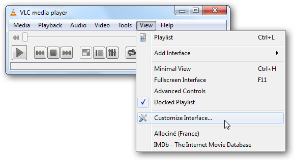 VLC Media Player - Main Menu