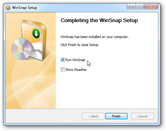 Run WinSnap after installation