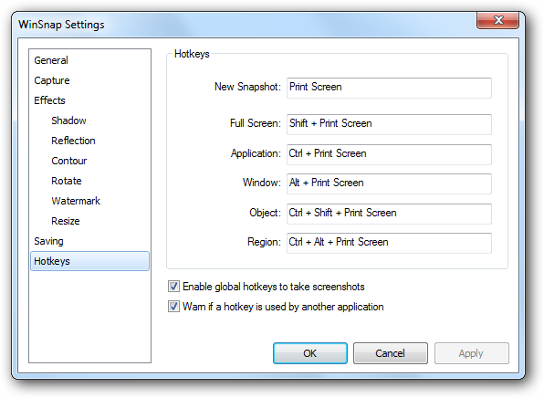 WinSnap Settings - Keyboard Shortcuts