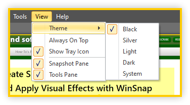 WinSnap v5.2 - Themes Menu